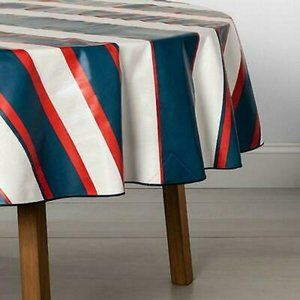 """70"""" Round Coated Tablecloth Red White Blue"""